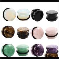 Augenbraue 1pair Natürliches Fleisch Tunnelstecker Einzelne Ausdrücke Weiß Opal Stein Ohrmessgeräte Expander 6mm16mm Piercing Schmuck HBXD8 LZDQG