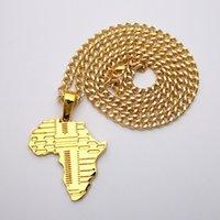 Anhänger Halsketten Strasssteine mit Schmuck, europäischen und amerikanischen Halsketten, Hip-Hop, afrikanische Kartenanhänger, modische Männer coole Halskette