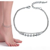 Women Summer Beach Jewelry Full Crystal Anklets Flower Charms Foot Chain Ankle Bracelet Barefoot Sandal Silver will and sandy drop ship
