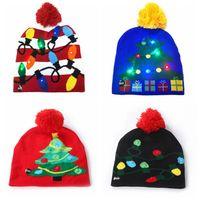 16 style Led Christmas Halloween Knitted Hats Kids Baby Moms Winter Warm Beanies Pumpkin Snowmen Crochet ZHL5714