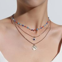 Pendant Necklaces Fashion Turkish Blue Eyes Multilayer For Women Bohemian Vintage Devil Choker Beads Party Jewelry