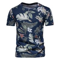 Men's T-Shirts Summer Casual Floral Cotton White T-shirt Slim Sports Fashion Retro Short-sleeved For Male Street Wear Top