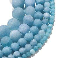 1strand / lot 4/6/8/10 ملليمتر ماتي الأزرق العقيق حجر الزبران جولة فضفاض فاصل الخرز لسوار مجوهرات وصناعة