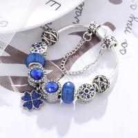 Europe and United States 2020 blue crystal lucky clover Pandora charm bracelet female diy original jewelry February 14 gift