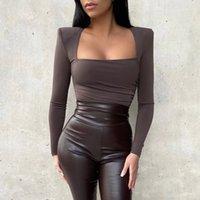 Duas peças vestido hirigin outono inverno bodysuits elegante festa de clube de manga longa slim tops uma roupa bodysuit