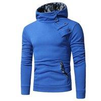 Men's Hoodies & Sweatshirts Hoodie Stand Collar Camouflage Stitching Pullover Zipper Male Big Pocket Sweatshirt Turtleneck Casual Hooded Top