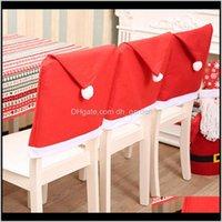 ديكورات تغطي غطاء كرسي غطاء كرسي سانتا كلوز الأحمر قبعة عيد الميلاد المنزل حزب عيد الميلاد الحلي BH4330 MJ ZUXG0