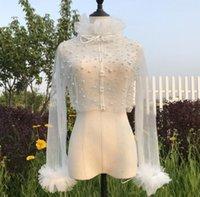 Wraps & Jackets White Long Sleeve Beaded Jacket Bolero Shrug Wrap Stole For Wedding Bridal High Quality