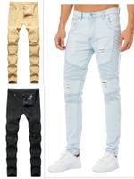 Black Skinny Jeans para Homens Biker Jean Slip Azul Khaki Destruído Mens Slim Denim Reta Inscipado Representam Calças de Roupas