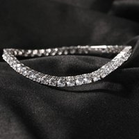 Iced Out Gold Chain Bracelet For Mens Hip Hop Damond Tennis Jewelry Single Row Rhinestone Bracelets 4mm