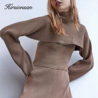 Women's Sweaters Hirsionsan Designer Turtleneck Sweater Women 2021 Winter Elegant Short Tops Female Full Sleeve Casual