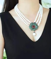 Hand knotted necklace 3rows 7-8mm white freshwater pearl micro inlay zircon flower clasp 43-48cm fashion jewelry