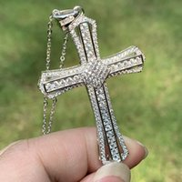 Choucong Brand New Unique Luxury Jewelry Cross Pendant 925 Sterling Silver Pave White Clear 5A Cubic Zirconia CZ Women Necklace With Chain