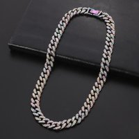 Punk Rainbow Color Miami Cuban Link Chain Necklace For Men Gothic Choker Hip Hop Necklaces Bracelets Jewelry Fashion Gifts Chains