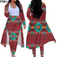 아즈텍 아프리카 부족 패턴 여성 2 조각 정장 신축성 트렌치 코트 슬림 맞는 점프 슈트 통기성 여성 의류 여성의 두 조각 바지