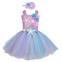 Mädchen Pastell Mermaid Tutu Kleid unter dem Meer Thema Geburtstagsfeier Kostüm mit Blumen Stirnband Ozeankleider 1-12Y 210802