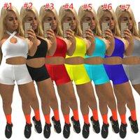 여름 여성 Tracksuits 디자이너 두 조각 짧은 세트 섹시한 자르기 탑 반바지 복장 솔리드 컬러 민소매 캐주얼 슬림 조끼 바지 운동복