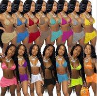 3 Stili Summer Donne Costumi da bagno 3 pezzo Bikini Set Sexy Costume da bagno Sexy Colore solido Abiti da bagno Plus Size S-2XL Vestiti da nuoto Beach Wear 1032