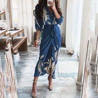 Casual Dresses Waist Tunic Elegant Long Dress Women Floral Print Shirt Turn-down Collar Sleeve Fashion Party
