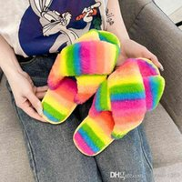 Designer Women Slippers Plush New Large Cross Striped Colorful Home Daily Leisure Fluffy Slides Ladies Furry Slipper