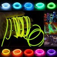 Полосы El Wire Flash веревка трубки кабеля Светодиодная полоса гибкая неоновая лампа 2M / 3M / 5M аккумуляторная батарея