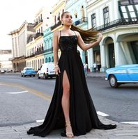 Newest Black A Line Prom Dresses Sexy Side Split Cocktail Evening Gowns Halter Neck Lace Up Backless Robe De Soiree
