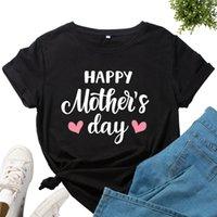 2021 ساخن بيع المرأة قصيرة الأكمام عيد الأم سعيد تي شيرت