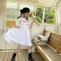 French style Big Girls white Dress 2021 summer Kids lapel short sleeve shawl +suspender falbala Trumpet Dresses 2pcs  Children clothing A6819