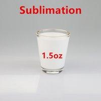 Großhandel! 1.5oz Sublimation Shot Glas 144 stücke pro Karton 50ml Weiß Leere Weingläser Goldener Randbecher Wärmeübertragung Trinkbecher A12