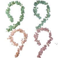 Folha Densa Grinaldas Artificial Eucalyptus Garland Faux Silk Vines Handmade Greenery Wedding Backdrop Arco Parede Decoração OWC7256