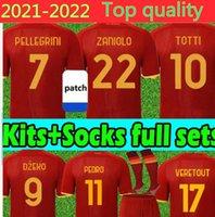 2021 2022 Jersey Futebol Jerseys Totti Dzeko Zaniolo Kluivert 21/22 Homens Kits Meias Completas Conjuntos Roma Camisas Futebol Uniformes