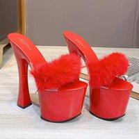 Mulheres de verão 17 cm de altos saltos 7cm plataforma Sandálias de pele desliza Chinelos de bloco de luxo Vermelho Branco Sexy Plus Size Fetish Prom sapatos