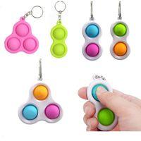 Pop Fidget Dinger Bubble Baby Toy Keychain Carabiner Giocattoli Accessori Per Bambini Fashion Ansia Stress Stress Reliever Board Game Key Pandent LLA652