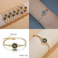316L Stainless Steel For Women Crystal Charm rhinestones Bracelet 12 Constellation Round Bracelets Gold Color Engagement Gifts Jewelry