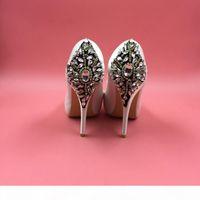 Ivory Satin Rhinestones Zapatos de boda Bombas Peep Toe Tacones Altos Plataforma Stilettos Zapatos de fiesta Cristales Talón trasero Mujeres Bombas Rojas Royal Azul
