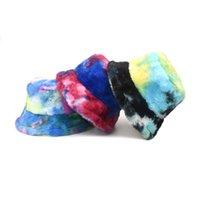 New Colorful Tie Dye Fishing Caps Panama Bob Fisherman Gorros Warm Soft Faux Fur Winter Bucket Hat For Women Ladies