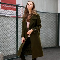 Women's Wool & Blends Korean Woman Winter Coats And Jackets Long Sleeve Trench Coat For Women Green Office Lady Vintage Belted