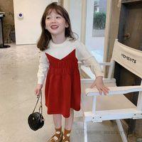 Autumn girls princess dresses kids patchwork color elastic waist long sleeve dress christmas children clothing Q2369