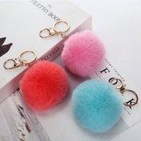 Boyutu 8 cm Bulanık Topu Anahtarlık Telefon Charm Ponpon Ponpon Yapay Tavşan Kürk Hayvan Charms Kadın Araba Çantası Anahtarlık için Çok Renkler