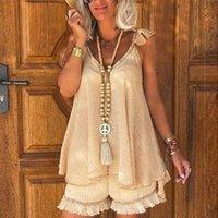 Women's Tracksuits Cotton Linen Boho Women Shorts Two Piece Set Oversize Patchwork Fringe Hem Vest Suit Female Summer Ladies Beach Outfit