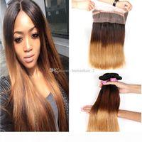 Три тонны прямые человеческие пакеты волос с омбре 360 кружевной лобной крышки 1b 4 27 мёд блондинки Омбре прямой бразильский Viirgin волос 4 шт.