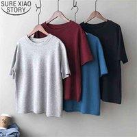 Summer Cotton Tshirt Women Round Neck Korean Fashion Loose Tees Short Sleeve T-shirts Solid Casual Blusas 13441 210506