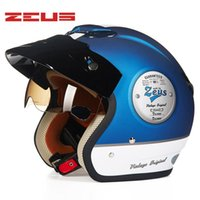 오토바이 헬멧 Zeus 3/4 레트로 헬멧 빈티지 Casco Moto Scooter Capacete 오픈 페이스 도트 381C