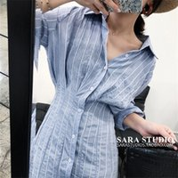French Style Vintage Stripe Mid-Length Shirt Womens Summer Design Sense Niche Dress Early Spring Long Sleeve Waist-Tight Shirt Dress