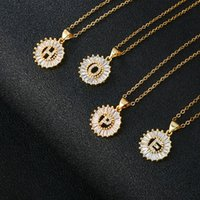 Luxury Copper Zircon A-Z Letter Initial Pendant Necklace Gold Color Clavicle Chain Choker Necklace Fashion Statement Jewelry