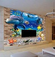Wallpapers 3D Blue Ocean Wall Kid Baby Bedroom DIY Mural Sticker Decoration Lamp TV Backdrop Wallpaper