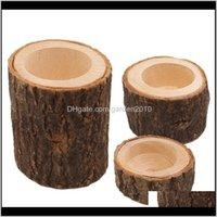3 unids / conjunto soportes de madera soporte de pilares soporte de vela planta maceta de flores para el hogar Barra de boda Decoración navideña Xhsra Uurg1