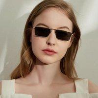 선글라스 여성 빈티지 좁은 작은 금속 프레임 태양 안경 사각형 운전 안경 낚시 안경 남자 2021