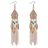Böhmen Feder Ohrring für Frauen Modeschmuck Perlen Quaste Baumeln Lange Ohrringe Dream Catcher Drop Ohrringe FI10C 979 Q2