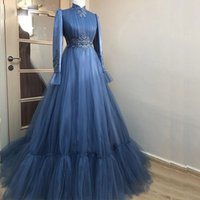 Full Sleeve Muslim Evening Dresses High Collar Tulle Middel East Kaftan Turky Formal Gown Lace Appliques Pleat Prom Dress 2022